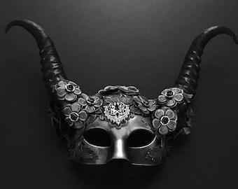 Black Silver Masquerade Mask, Animal Horns Mask, Halloween Women Mask, Halloween Mask, Women Animal Mask, Women Party Mask, Animal Mask