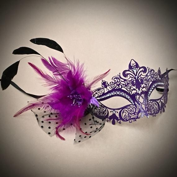 Couple Purple Gold Jolly /& Glamorous Feather Stick Mask Mardi Gras Wedding mask