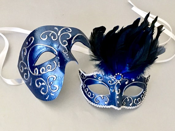 Blue gold Couple Musical Phantom Masquerade With Feather Engagement Wedding Mask