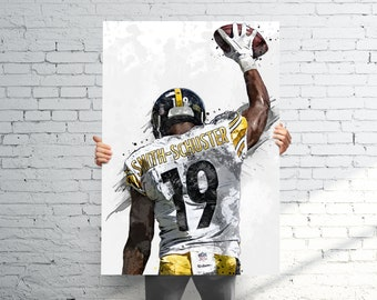 0f4bf9b4acd JuJu Smith-Schuster Pittsburgh Steelers Poster   Canvas Print - Sports Art  - Football Art - Kids Decor - Man Gift - Man Cave