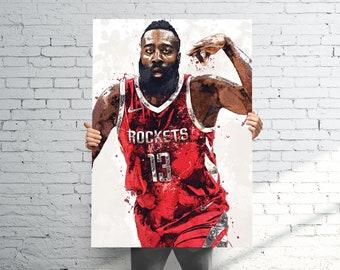 9481ac2b306a James Harden Houston Rockets Poster   Canvas Print - Sports Art - Football  Art - Kids Decor - Man Gift - Man Cave