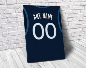 807d989eb Minnesota Timberwolves Custom Jersey Poster   Canvas Print - Sports Art - Basketball  Jersey Art - Kids Decor - Man Gift - Man Cave