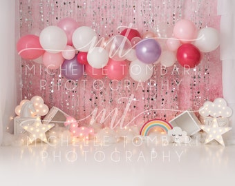 5x7ft Fantasy Sweet Baby Cake Smash Backdrop Gifts Heart Balloons Ribbon Bokeh Dreamland Backdrops for Photography Girls Kids Birthday Party Portraits Vinyl Photo Background Studio Props