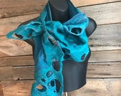 Festival Clothing Women, Felted Scarf, Silk Scarf, Burning Man Clothing, Printed Scarf, Gift for Her, Women Scarf, Festival Scarf, Silk Wrap