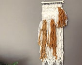 Orange & White Woven Wall Hanging, Boho Wall Decor, Wall Art, Bohemian Wall Hanging, Fiber Art, Modern Wall Tapestry