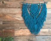 Macrame Wall Hanging, Blue Boho Decor, Medium Bohemian Fiber Art, Modern Coastal Home, Natural Interior, Southwestern Style, Minimalist Deco
