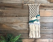 Macraweave, Wall Hanging, Boho Wall Art, Fiber Art, Wall Decor, Turquoise Gray Wall Art, Weaving, Wall Weaving, Decor
