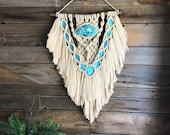 Woven Wall Art, Macrame, Turquoise Wall Art,