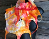 Felted scarf, scarf, silk, boho, wrap, felt, wool, red, orange, yellow, women, accessories, art to wear, red silk scarf, festival wear