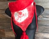Red Boho Scarf, Tie Dye Silk Scarf, Organic Scarf, Eco Sustainable Fashion, Red Tie Dye, Triangle Scarf, Slow Fashion, Silk Scarf, Festival