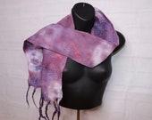 Purple Scarf, Boho Scarf, Festival Scarf, Festival Headwrap, Nuno felt scarf, Women spring felt scarf, lavender wool silk scarf gift for her