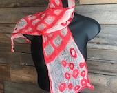 Felt scarf, felted scarf, red felt scarf, lace felt scarf, stylish scarf, white wool scarf, cotton scarf, unique scarf, red and white