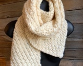 Hand Knit Scarf, Knit Scarf, Cream Scarf, Wool Knit Scarf, Gift for Her, White Winter Knit, Handmade Wrap Scarf, Ready To Ship