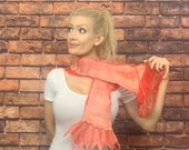 Felted Scarf, Red Scarf, Silk Wrap, Boho Scarf, Unique Scarf, Handmade Neckwrap, Red Silk Scarf, Gift for Her