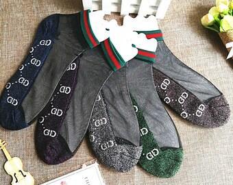 b7c439a4e15b4 Five pairs / new ladies boat socks gold silk letters crystal silk socks