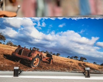 Slate Photographic Art  Truck in a field. 14cm x 29cm