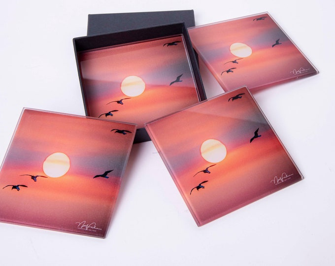 Gulls into the Sunset, Square Glass Coaster set of 4