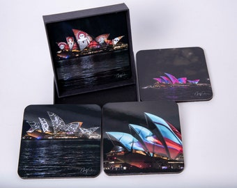Sydney Vivid Light Festival. Set of 4 Cork Coasters