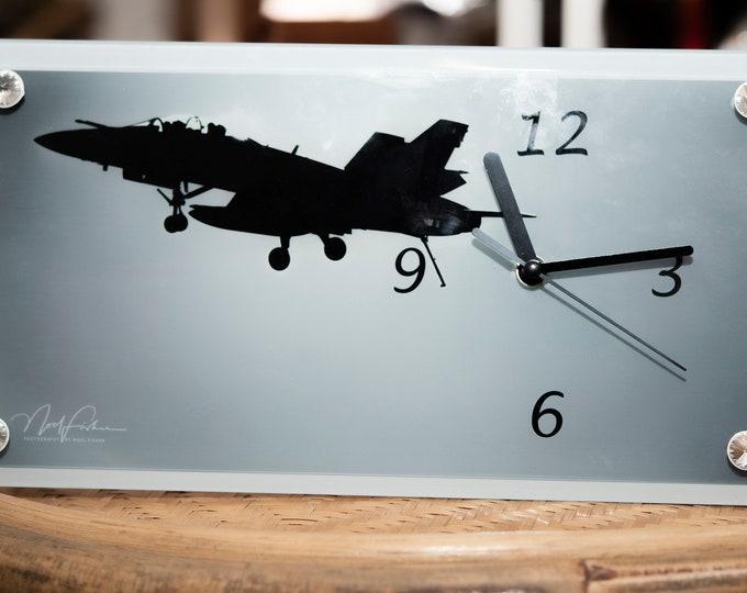FA 18 Jet Fighter Glass Clock