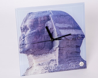 Sphinx Head Glass Clock