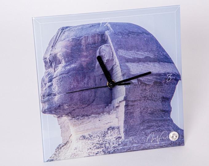 Sphinx Head Glass Clock