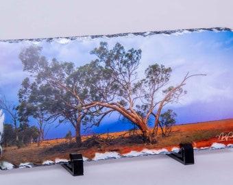 Australian Outback Landscape. Slate picture 14 x 29 cm