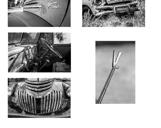 Deserted Cars in Black & White  set of 5 A6 Note cards