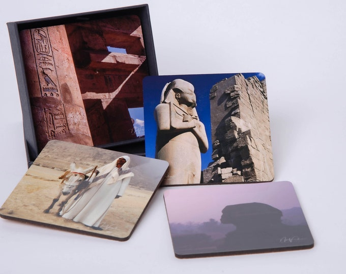 Egyptian Scenes Coasters set of 4