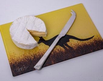 Cheese Board or Cutting Board - Kangaroo on the hop