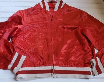 Vintage Satin Bomber Jacket Red Georgia Pistons Stockbridge GA Oldsmobile Patches Vintage Automotive Streetwear Hipster 80s 90s Fashion L