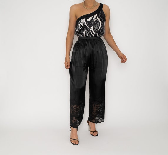 Vintage Black Lounge Ankle Silk Trousers | Stretch