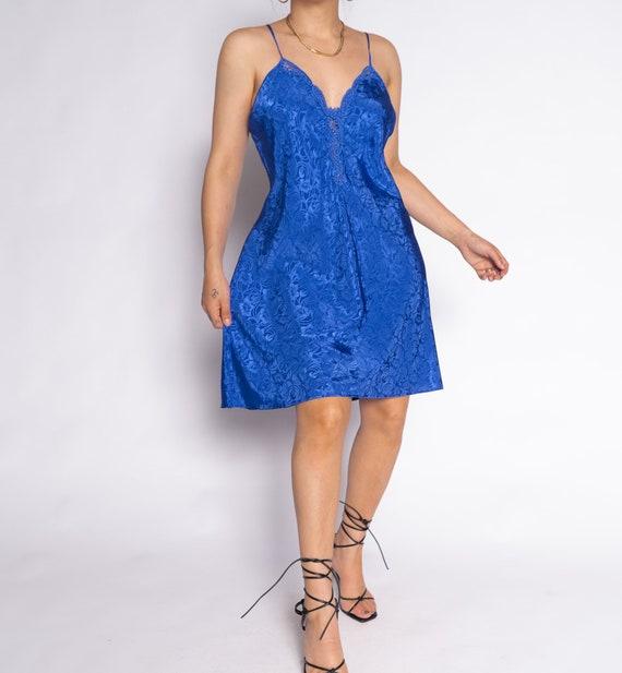 Vintage Blue Floral Slip Negligee Dress