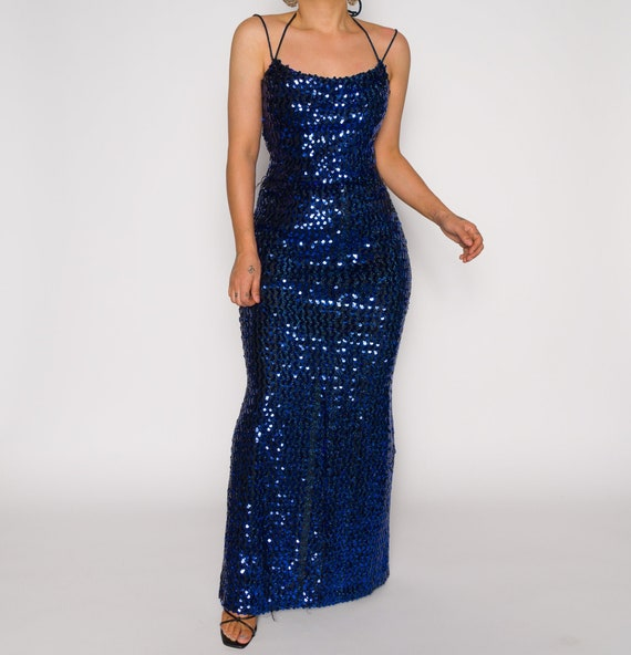 Beaded Vintage Blue Slip 1990s Dress | Sequined Sl
