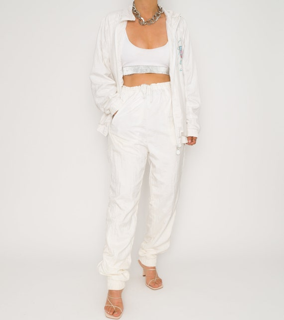 Vintage Adidas 80's White Track Suit Set | Small -