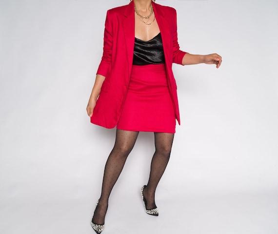 Hot Pink Long Sleeve Blazer Linen Skirt Suit