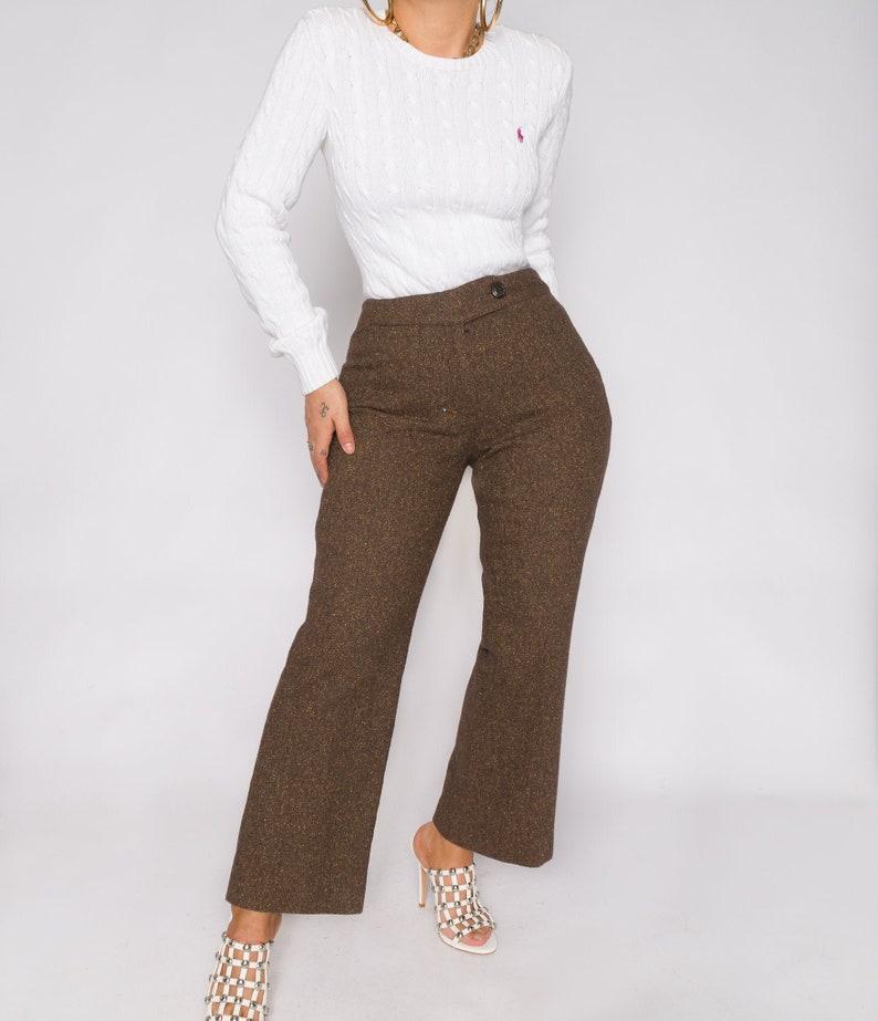 Vintage Clothing Shop Shop Restyled Vintage Vintage Pleated Chocolate Brown Tweed Trousers