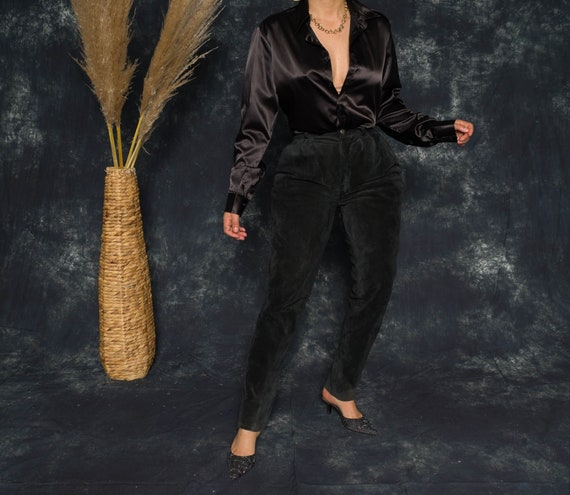 80's Leather Onyx Suede Genuine Leather Pants