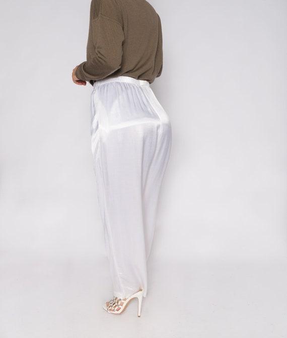 White Silky Charmeuse Pants | Stretchy Waistband … - image 5