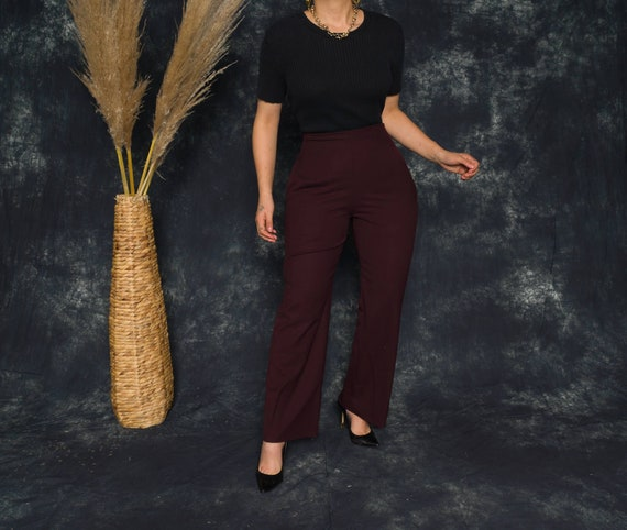 Dark Red Flare Pants | Burgundy Flare Ankle Pants