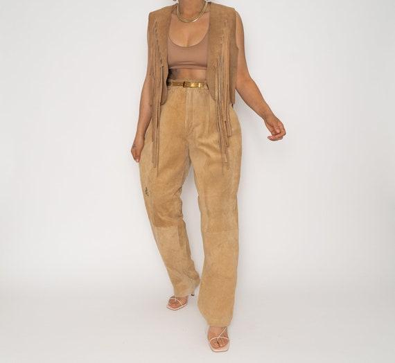 Vintage Tan Leather Fringe Vest