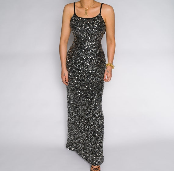 Vintage Gray Sequin Maxi Slip 1990s Dress Gown | … - image 1