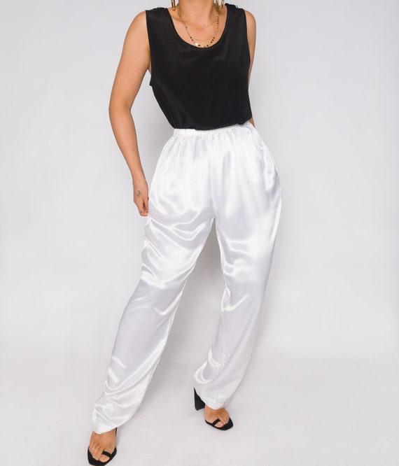 White Silky Charmeuse Pants | Stretchy Waistband … - image 3