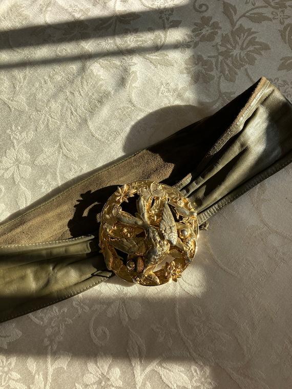 Rare Vintage Opulent Gold Wide Belt | Wide Brown B