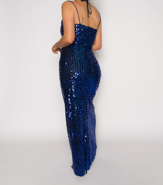 Beaded Vintage Blue Slip 1990s Dress | Sequined S… - image 2