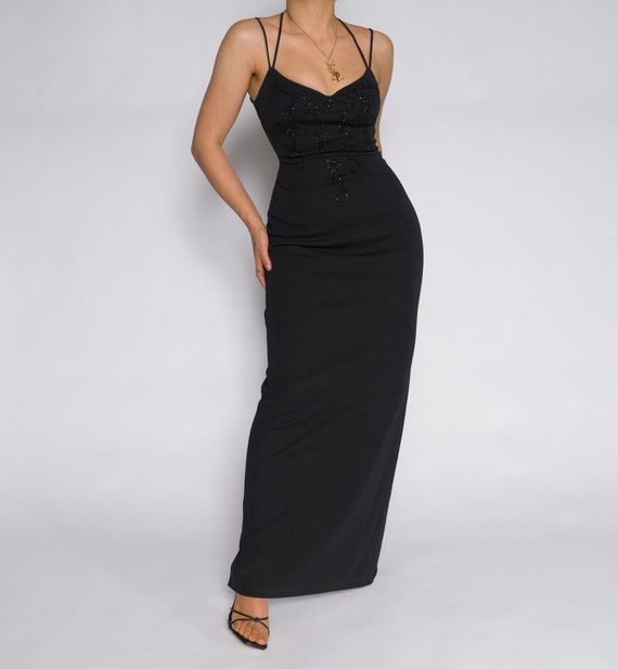 Beaded Vintage Black Slip Dress | Beaaded Slip Sli