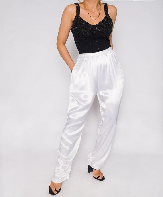 White Silky Charmeuse Pants | Stretchy Waistband … - image 6