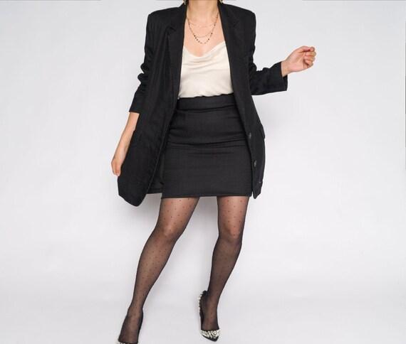 Black Linen Blazer + Skirt Suit