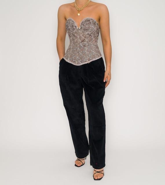 Vintage Brown Tye Dye Bustier | Brown Lace Floral