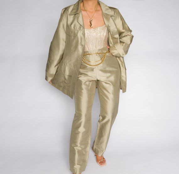 Metallic Gold Long Sleeve Blazer Pant Suit Set | V