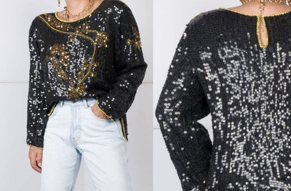 Pure Silk & Beaded Sequin Blouse
